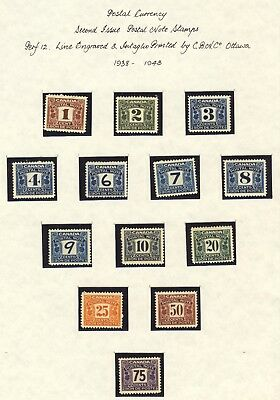 13x Canada MNH Postal Note Stamps 2nd issue Up to 75c Cat. Value=  $135.00