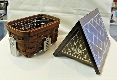 Longaberger 2009 Collectors Club Gingerbread House Basket Wood Lid & Tie Ons