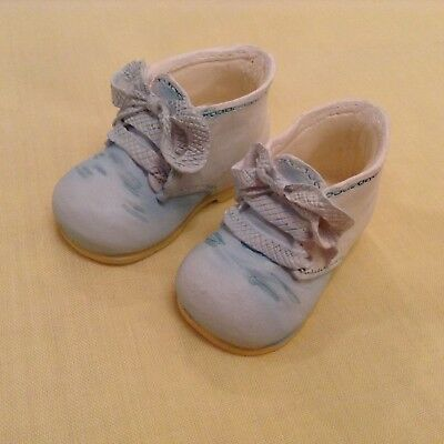 """""""Pitter Patter"""" PAIR OF CERAMIC BABY SHOES.  Boxed."""
