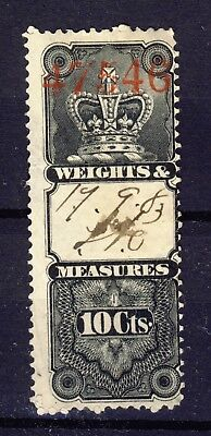 Canada Revenue stamp Weights & Measures 1876 Crown Issue FWM2-10c Used CV=$60.00
