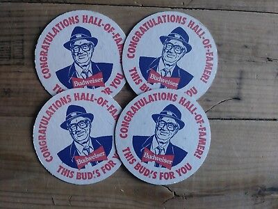 Vintage HARRY CARAY1989 BUDWEISER CUB FAN  BUD MAN Beer COASTER Lot of 4  CUBS