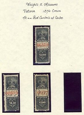 Canada Revenue stamp Weights & Measures 1876 Crown Issue $1-$1.50-$2. CV=$53.00