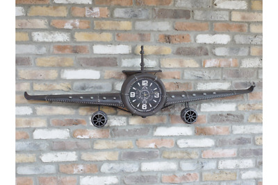 Vintage Style Large Wall Mounted Metal Aeroplane Clock