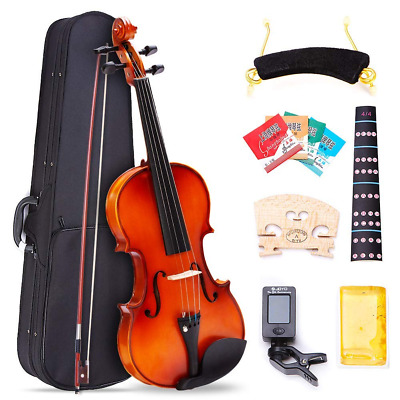 4/4 Full Size Violin Natural Solid Wood Satin Acoustic Starter Kit NEW US