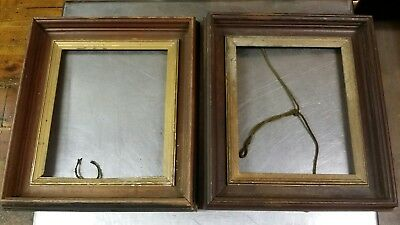 """Pair of Antique 2"""" Deep Well Gilt Walnut Picture Frames, 16x18 out 10x12 in 3"""" w"""
