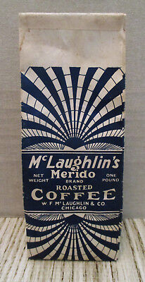 Vintage Advertising-McLAUGHLIN'S MERIDO COFFEE-Paper Bag-Store Sack-Chicago-Blue