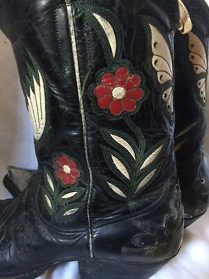 Museum 1920's Cowboy Boots Floral Eagle Stitch Toe Bug Sterling Silver Rare!!