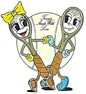 Original Vintage Tennis Starts With Love Iron On Transfer