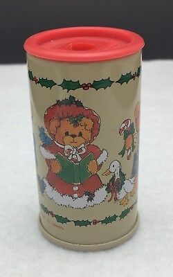Vtg 80's Enesco Lucy & Me Lucy Rigg Christmas Teddy Bears Tin Pencil Sharpener