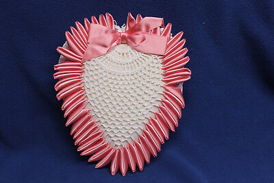 Vintage Victorian pink stuffed Pin Cushion Sewing Notion Handmade crochet Heart