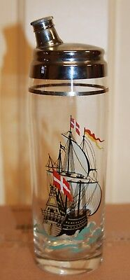 Vintage Mid Century Cocktail Drink Shaker Mixer with Ship Scene