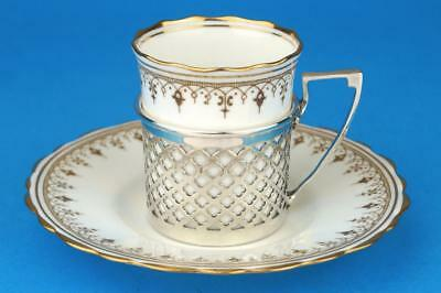 AYNSLEY Demitasse ART DECO Gold Coffee Cup/Can Saucer & HM SILVER Holder 1929