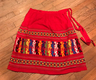 Vintage Hand Embroidered Mexican Skirt FIESTA Oaxaca Red