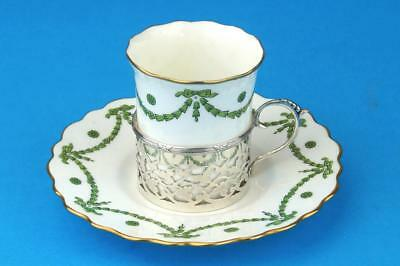 AYNSLEY Green Garland ART NOUVEAU Coffee Cup/Can Saucer & HM SILVER Holder 1913
