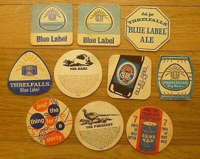 Ten Mainly 1960's Threlfall Chester, Liverpool Beermats