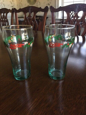 Coca Cola Christmas Glasses Holly Bells Pine Cones and Berries Libbey?