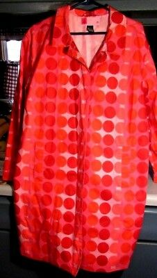 Cute Womens Pink Polka Dot Mossimo Rain Coat Button Front Size L Knee Length