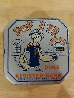 1929 Popeye Dime Register Bank King Feat Synd.