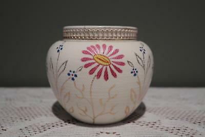 Victorian Squat Globe Vase With Hand Painted Floral Pattern - Textured - Rc
