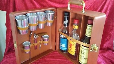 "Vintage Portable Travel Mini Bar Set in Suitcase 13.25"" x 11.5"" x 5.25"""
