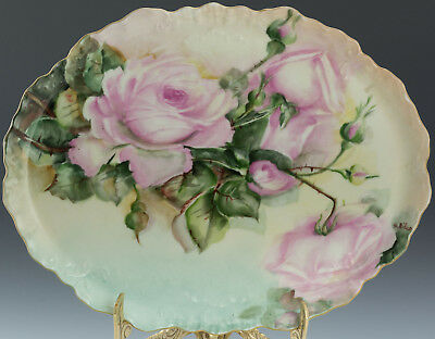 Antiques  Limoges France Hand Painted Roses Tray
