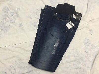 NWT GAP MATERNITY JEANS LONG AND LEAN SIZE 26/2r DEMI PANEL STRETCH FITTED