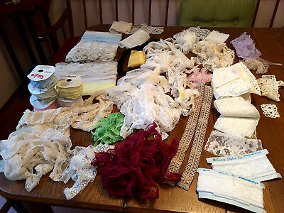 Lot Of Assorted Vintage Lace~Sewing Trim Yardages~Costuming Crafts~Doll Clothes