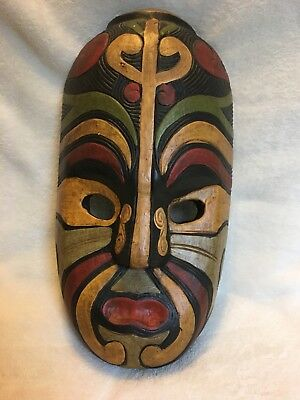 Indonesian Wooden Carved & Painted Mask Wall Art Home Decor