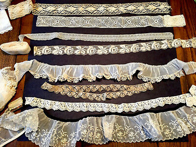 Lot~Fine Vtg. LACES~some Victorian~HIstorical restoration~Costume~Dolls~Cutter