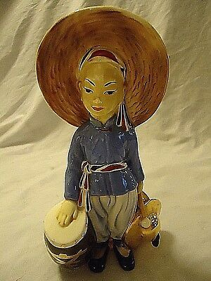 Vintage Will George Man With Drum Chinese Asian Pillow Vase California Pottery