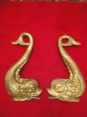 Antique Vintage Cast Brass Furniture Legs In The Shape Of Dolphins Neoclassical/