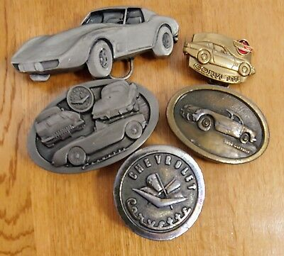 5 Lot Corvette Belt Buckle Vintage Brass Baron Bergamot Metal Craft Chevy