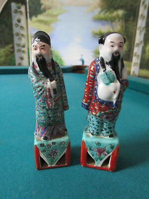 "Antique Chinese Pair Of Figurines 6 1/2"" Tall"