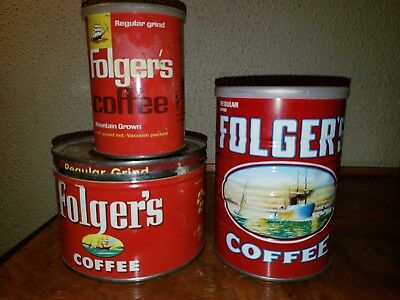 Lot of 3 Vintage Folgers Coffee Cans Tin 1 Lb 1980 sealed, 1/2lb can 1lb key can