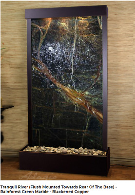 ADAGIO Tranquil River flush water wall, rainforest green marble, pick finish