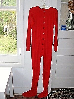 Vintage Adult Red Footed 1 Pc Pajamas, Long Johns, Long Underwear - Butt Flap