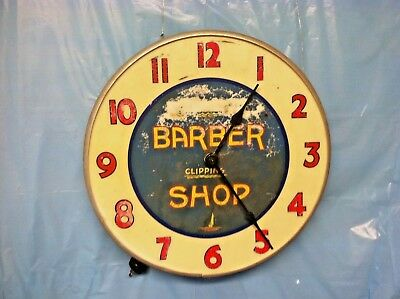 Antique Vintage BARBER SHOP - MONEY ORDERS Working Electric Wall  Clock - Rare!