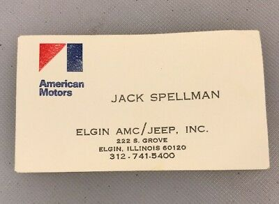 American Motors Elgin AMC Jeep Illinois IL Vintage Business Card Jack Spellman