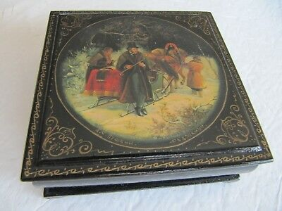 Dated 1958 & Signed Fedoskino Pushkin Russian Lacquer Box Made in USSR UNIQUE