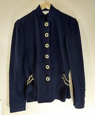 ST. JOHN Collection by Marie Gray Knit Suit Jacket Womens Size 6  Navy Blue Gold