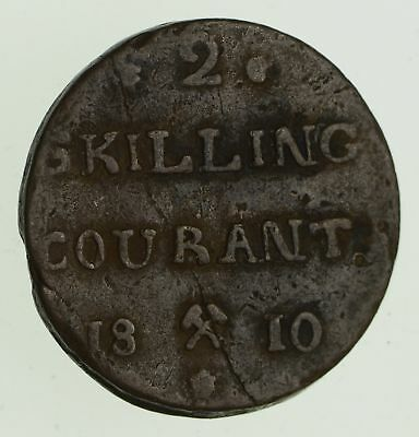 1810 Norway 2 Skilling Courant - Historic World Coin *539