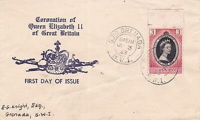 Grenada  cached first day cover envelope - Queen Elizabeth coronation 1953