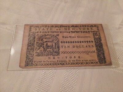 Original STATE of NEW YORK Colonial Currency $10.00 Spanish Milled Dollars 1776