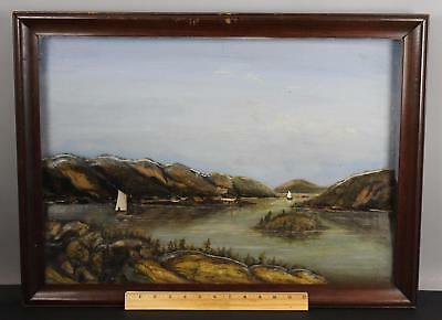 19thC American Maritime Folk Art Sailboats & Landscape Diorama Painting, NR