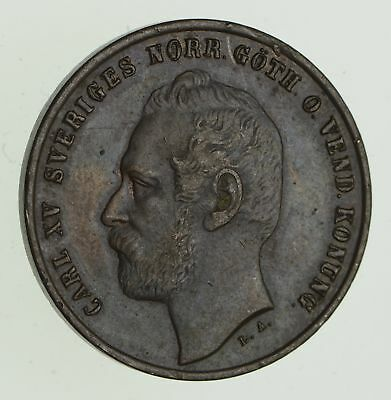 1871 Sweden 2 Ore - Historic World Coin *578