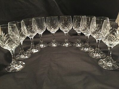 10 Cut Crystal Glass Stemmed Cordial Liqueur Glasses