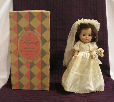 "1940s 1950s Randi Walking Bride Doll Box 7.5"" Duchess Doll Corp #13/15 Vintage"
