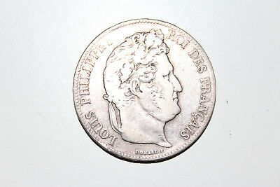 1838W FRANCE 5 Francs silver coin