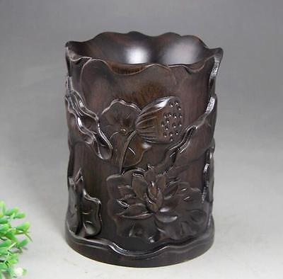 Old China Wood Ancient Lotus Leaf Flower Brush Pot Pencil Holder Vase Statue e01
