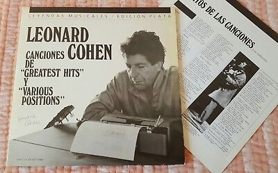 LEONARD COHEN Canciones de Greatest Hits y Various Positions 2x LP Vinyl  1987
